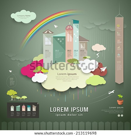 Vector, trend house for the annual rainy season. info graphics background, paper cut concept cloud, rainbow, house, icons, green tree for business design, illustrations - stock vector