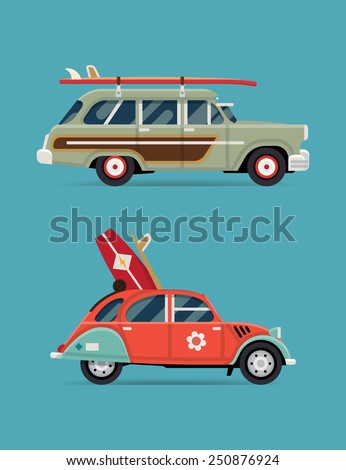 Vector trendy flat design recreational vehicle icons on surf travel with old classic vintage european and american beach surf cars, side view, isolated - stock vector