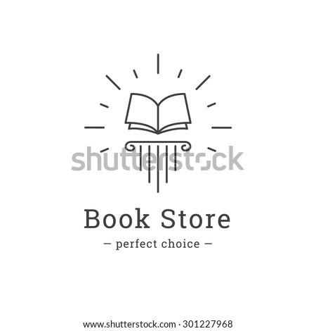 Vector trendy line style book store logo. Book on the greek column logotype. - stock vector