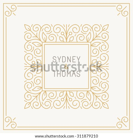 Vector trendy linear frame with copy space for text - wedding invitation design template - decorative background for greeting card in mono line style - stock vector