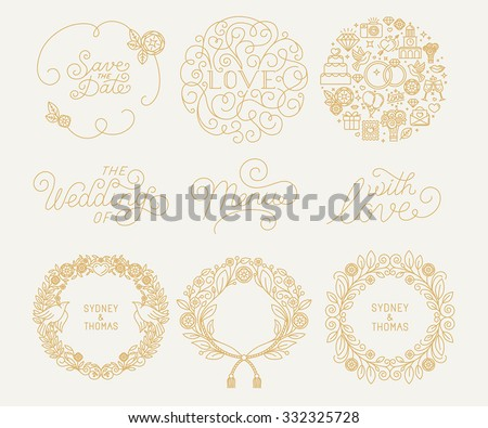 Venimos linear monograms frames borders and logo design vector trendy linear frame with copy space for text wedding invitation design template decorative stopboris Image collections