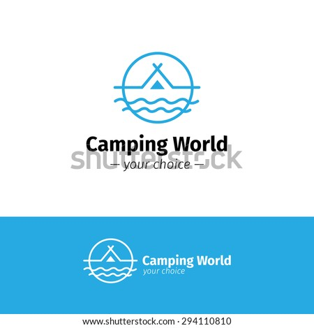 Vector trendy outline camping logo. Tent on a river hipster logotype - stock vector