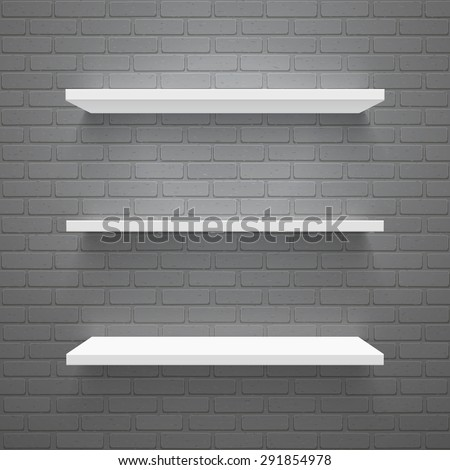 Vector trendy realistic illustration of simple empty white shelves on black brick wall. High quality design element. - stock vector