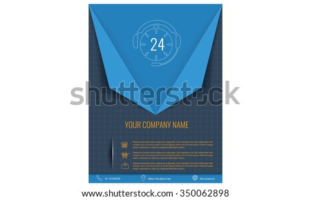 Vector tri fold brochure template triangle design or flyer layout to use for business applications, magazines, advertising, product sheets, item notes, event flyers or meeting invitations. - stock vector