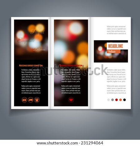 Vector tri-fold flyer or brochure template with bokeh background. Abstract modern trendy design. - stock vector