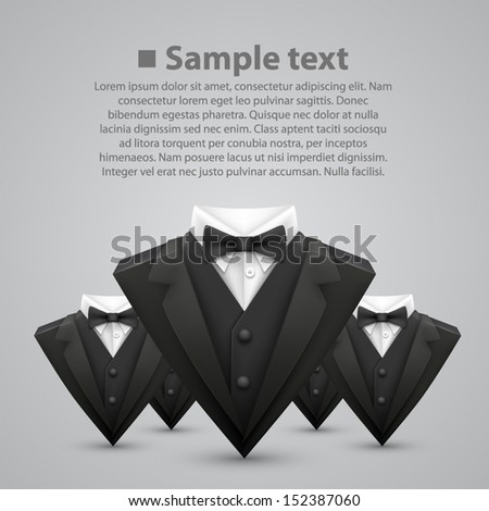 Vector triangle jacket with a bow tie. team - stock vector