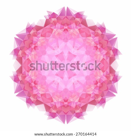 Vector triangle pattern background. Kaleidoscope flower mandala. Modern banner design template, vector illustration. - stock vector