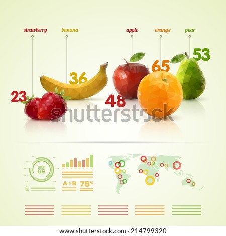 Vector triangle polygonal fruit infographic design template. - stock vector