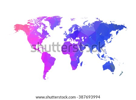 Vector triangle world map. Globe triangle concept. World map concept. - stock vector
