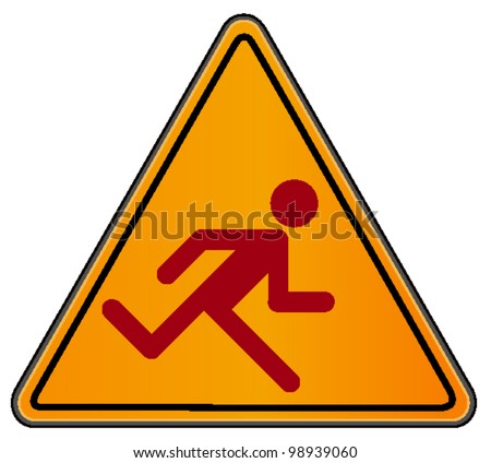 vector triangular road sign with running man