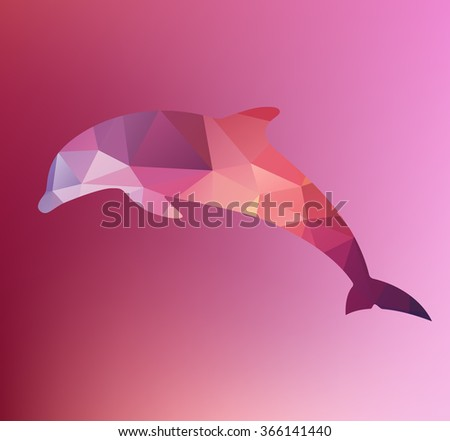 Vector triangulated dolphin silhouette. Magenta background. Triangle. Purple. Yellow. Red.  Pink. Dolphin symbol. Sign. Icon