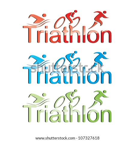 Vector triathlon symbol set - stock vector