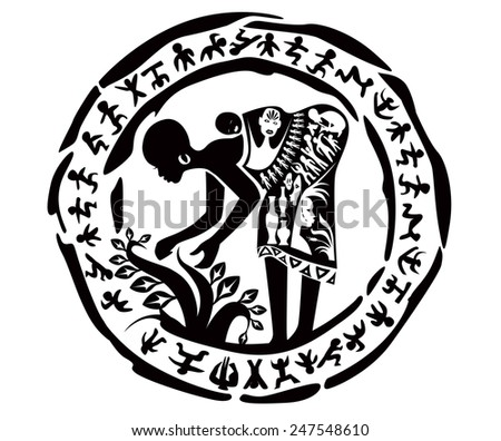 Vector tribal african woman, illustration, tattoo stamp - stock vector