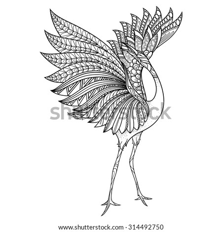 Vector Tribal Decorative Grus Antigone. Isolated Bird On Transparent Background. Zentangle Style