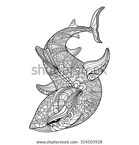 Vector Tribal Decorative Shark. Isolated Animal On Transparent Background. Zentangle Style