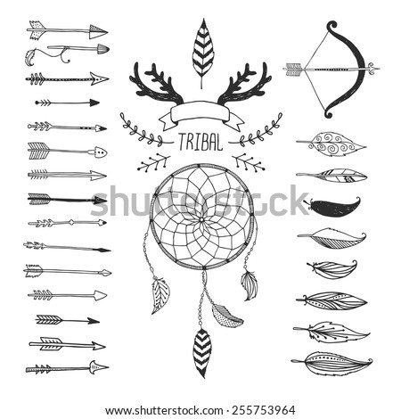 Vector Tribal design elements, aztec symbols, arrows, dream catcher, floral, ribbon, horns,  native american,  indian feather, bow with arrows isolated. Hand drawn tribal, ethnic elements - stock vector