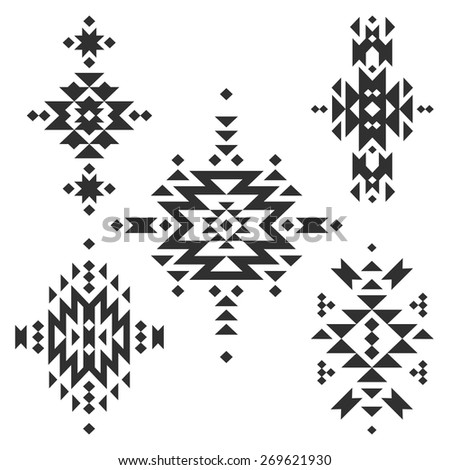 Vector Tribal elements, ethnic collection, aztec stile, tribal art, tribal design  isolated on white background - stock vector