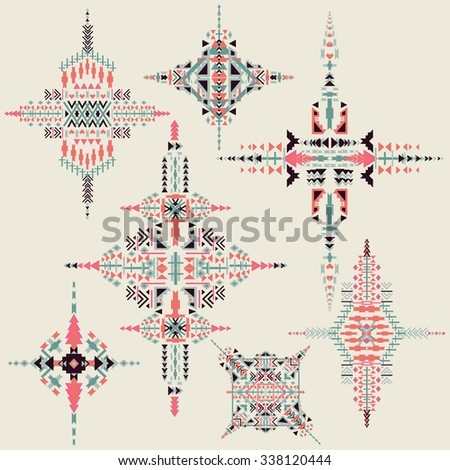 Vector Tribal ethnic ornament. Aztec decor elements. Tribal  elements design isolated on pastel background.Native  motifs  Flat decor elements. Perfect for  your design,  banners, posters, cards. - stock vector