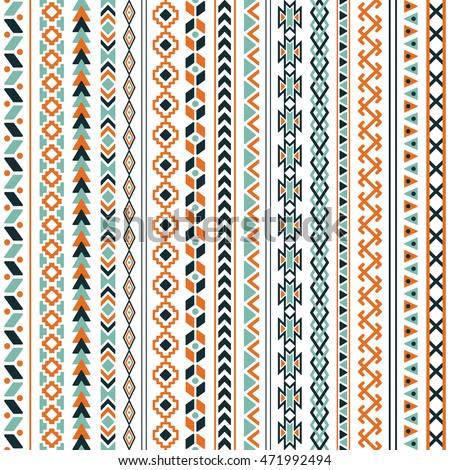 vector tribal aztec seamless patterns ethnic stock vector