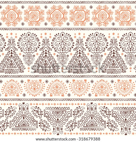 Vector Tribal Mexican vintage ethnic seamless pattern - stock vector