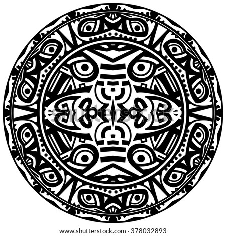 Vector tribal ornamental circle reminiscent of the Aztec calendar with eyes