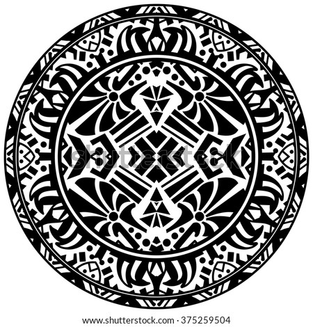 Vector tribal ornamental circle reminiscent of the mayan calendar - stock vector