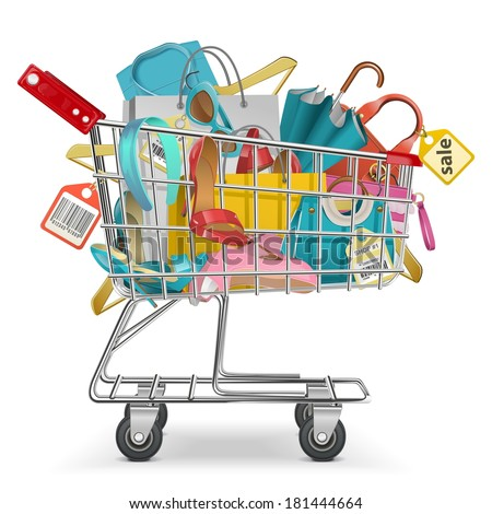 Vector Trolley with Purchase - stock vector