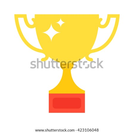 Vector trophy champion cup flat icon. Champion cup winner trophy award and victory prize champion cup. Champion cup sport success and best win champion cup golden leadership award competition. - stock vector