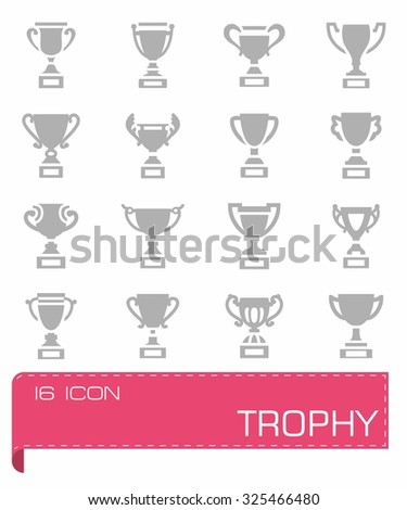 Vector Trophy icon set on grey background
