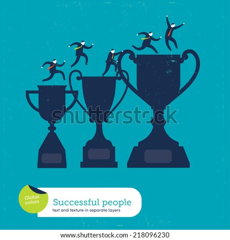 Vector trophy with men climbing. Vector illustration Eps10 file. Global colors. Text and Texture in separate layers. - stock vector