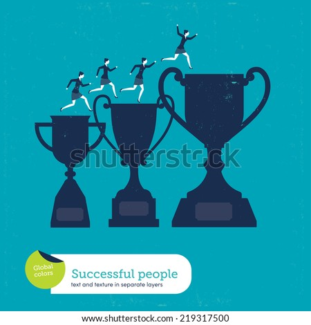 Vector trophy with women climbing Vector illustration Eps10 file. Global colors. Text and Texture in separate layers. - stock vector