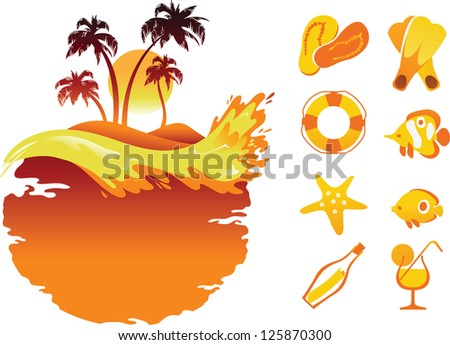 Vector Tropical Banners and Collection of Beach Items