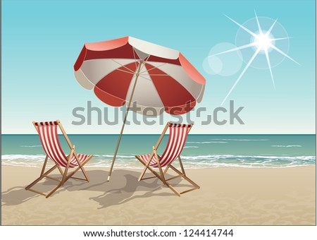 Vector tropical beach with chairs and parasol - stock vector