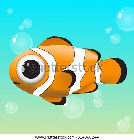 Vector Tropical Clown Fish Marine Water Ocean - stock vector