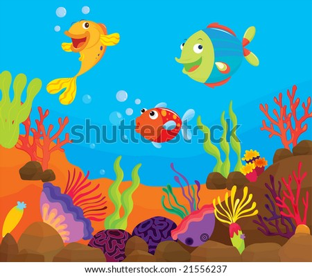 vector tropical fish on a reef - stock vector