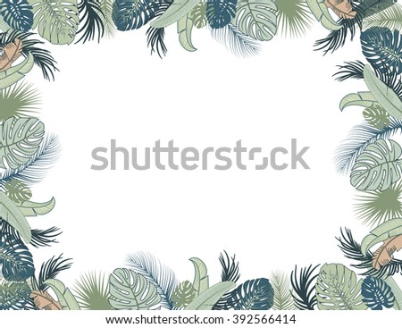 Vector tropical foliage frame, green and turquoise colors - stock vector