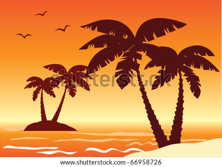 vector tropical illustration with palms, ocean and sunset - stock vector