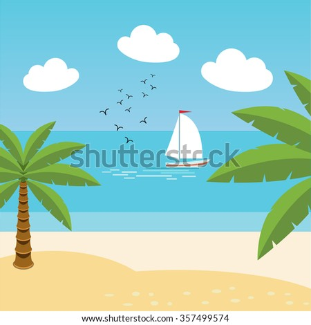 Vector tropical landscape. Sea shore beach with palm trees. Sailing boat. Holiday, vacation, resort, tourism, travel. - stock vector