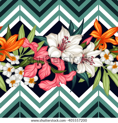Vector tropical leaves and flowers seamless pattern. Hand painted illustration on geometric background - stock vector