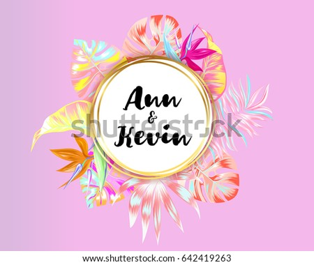 Vector tropical pink palm leaves flower stock vector hd royalty vector tropical pink palm leaves and flower invitation bright colorful jungle round design template for stopboris Images