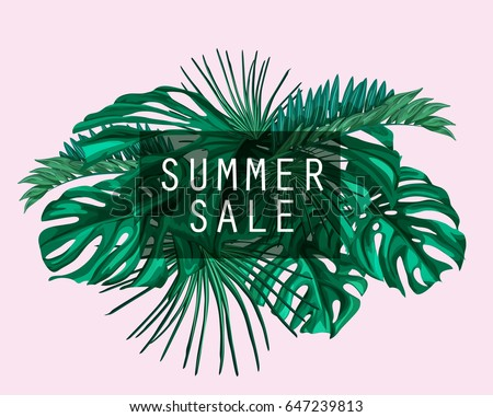 Vector Tropical  template with Summer sale lettering and with palm leaves green pattern.  Jungle floral pink ornamental background. Florals for your poster, banner flayer, advertisement design.