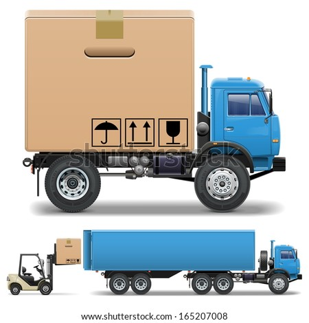 Vector Truck and Forklift - stock vector