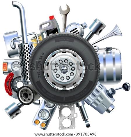 Vector Truck Spares Concept - stock vector