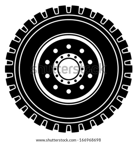 vector truck wheel black white symbol - stock vector