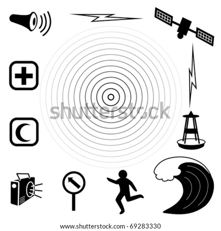 vector - Tsunami Icons. Earthquake epicenter, tidal wave, warning siren, radio, emergency aid services,  tsunami detection buoy, satellite & transmission, fleeing person, evacuation sign. - stock vector
