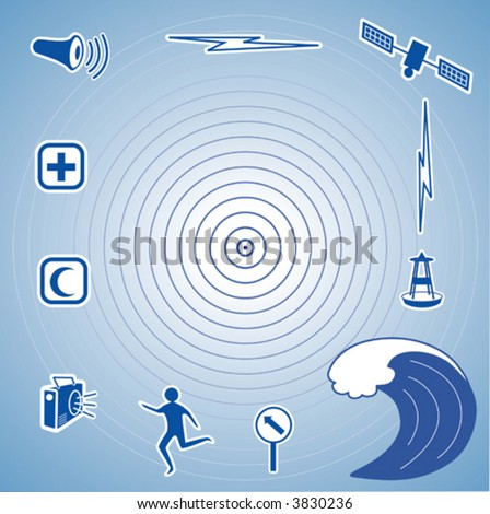 vector - TSUNAMI icons: quake epicenter, ocean waves, siren, radio, first aid,  detection buoy, satellite, transmission, fleeing person, evacuation sign. EPS8 compatible. - stock vector