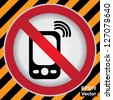 Vector : Turn Off Your Mobile Phone or Mobile Phone Are Not Allowed Prohibited Sign in Caution Zone Dark and Yellow Background - stock photo