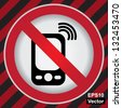 Vector : Turn Off Your Mobile Phone or Mobile Phone Are Not Allowed Prohibited Sign in Caution Zone Dark and Red Background - stock photo