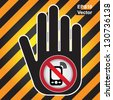 Vector : Turn Off Your Mobile Phone or Mobile Phone Are Not Allowed Prohibited Sign Present By Hand With Mobile Phone Are Not Allowed Prohibited Sign Inside in Caution Zone Dark and Yellow Background - stock photo