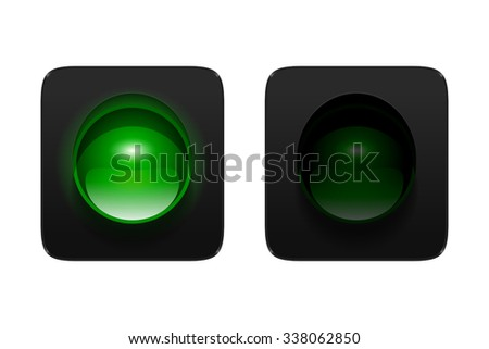 Vector turned on and off green traffic signal isolated on white background. Single aspect traffic lights icons for your design. - stock vector